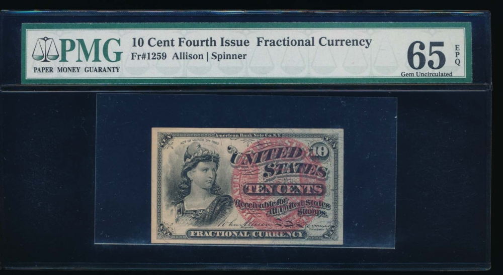 Fr. 1259  $0.10  Fractional Fourth Issue: Blue Right End, 40mm Seal PMG 65EPQ no serial number