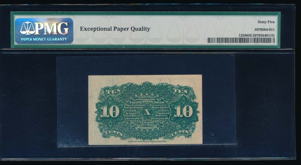 Fr. 1259  $0.10  Fractional Fourth Issue: Blue Right End, 40mm Seal PMG 65EPQ no serial number reverse