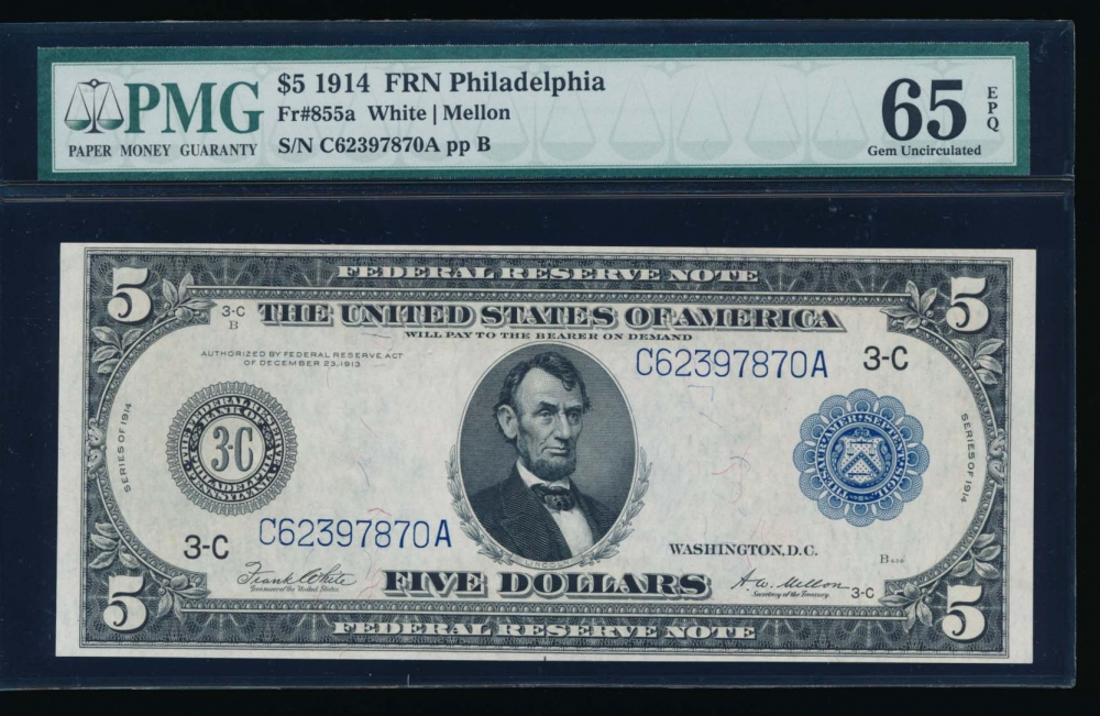 Fr. 855a 1914 $5  Federal Reserve Note Philadelphia PMG 65EPQ C62397870A