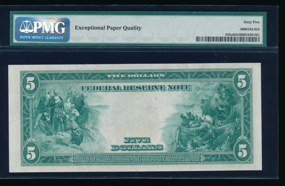 Fr. 855a 1914 $5  Federal Reserve Note Philadelphia PMG 65EPQ C62397870A reverse