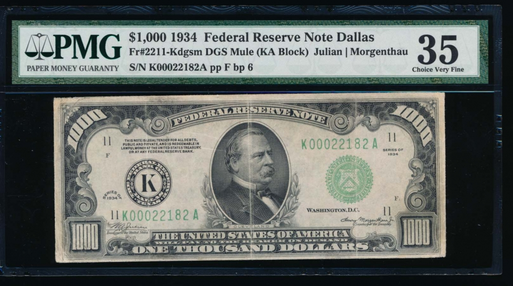 Fr. 2211-K 1934 $1,000  Federal Reserve Note Dallas PMG 35 K00022182A
