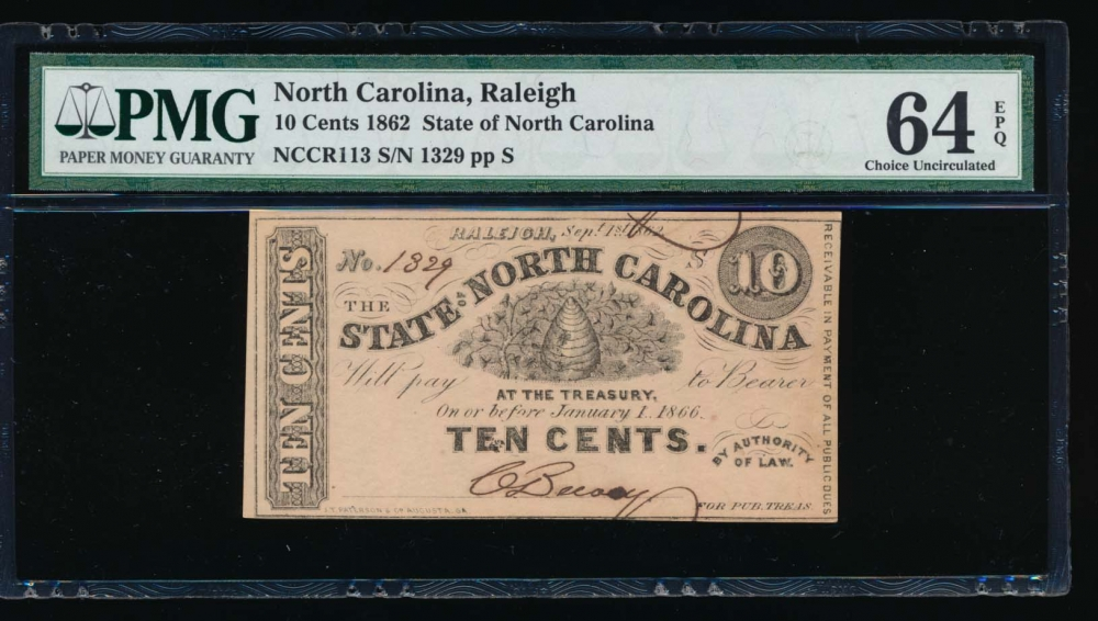 Fr. Cr NC-113 1862 $0.10  Obsolete State of North Carolina, Raleigh PMG 64EPQ 1329 S obverse