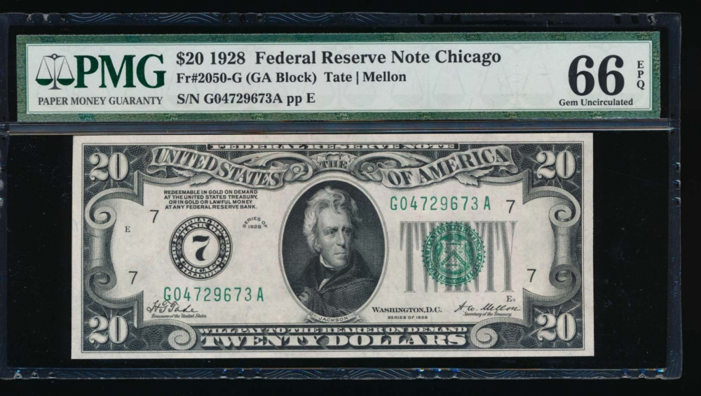 Fr. 2050-G 1928 $20  Federal Reserve Note Chicago PMG 66EPQ G04729673A
