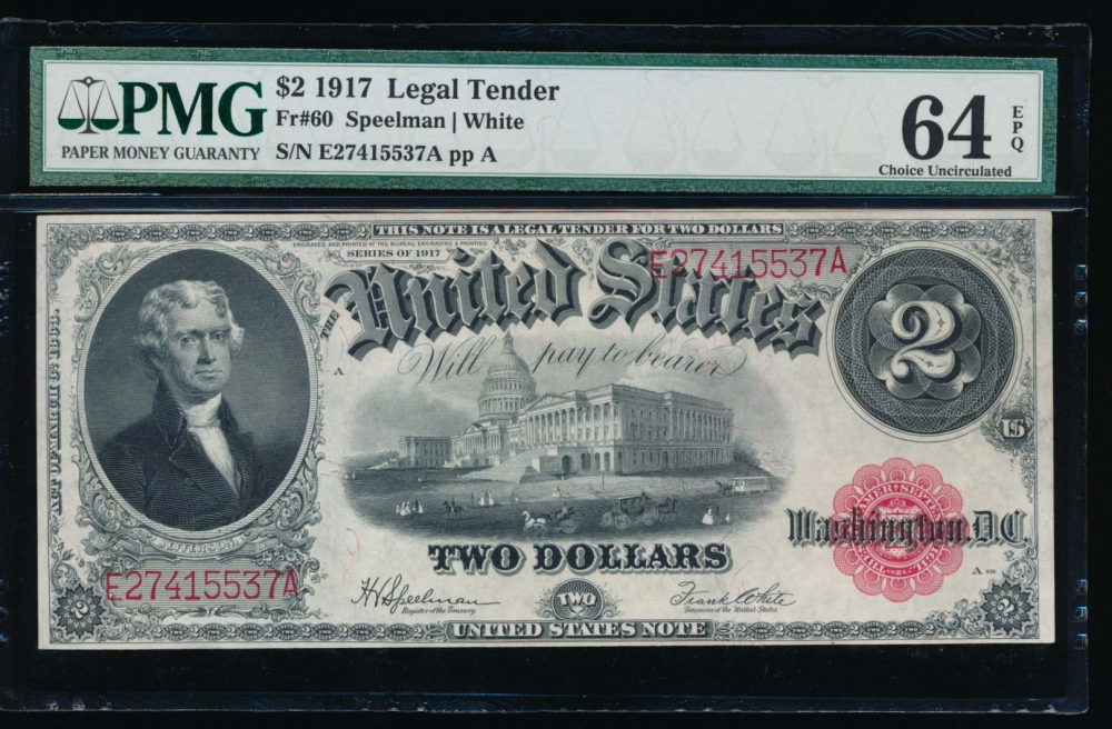 Fr. 60 1917 $2  Legal Tender  PMG 64EPQ E27415537A