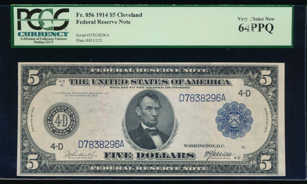 Fr. 856 1914 $5  Federal Reserve Note Cleveland PCGS-C 64PPQ D7838296A obverse