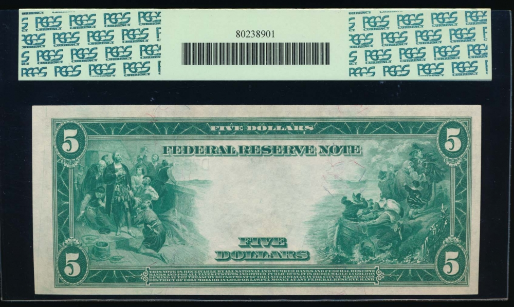 Fr. 856 1914 $5  Federal Reserve Note Cleveland PCGS-C 64PPQ D7838296A reverse