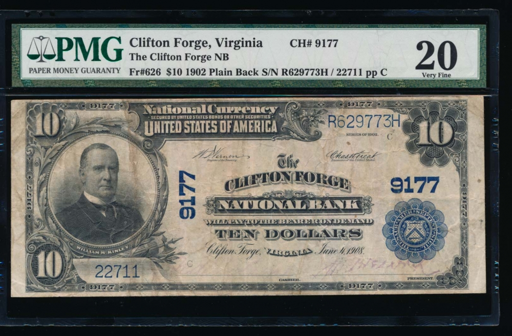 Fr. 626 1902 $10  National: Plain Back Ch #9177 The Clifton Forge National Bank Clifton Forge, Virginia PMG 20 22711