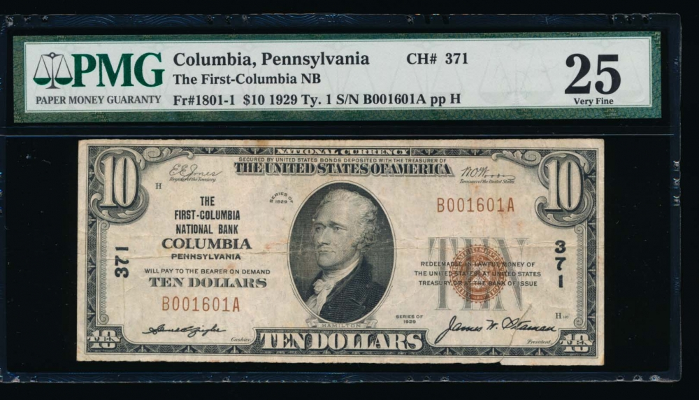 Fr. 1801-1 1929 $10  National: Type I Ch #371 The First-Columbia National Bank Columbia, Pennsylvania PMG 25 comment B001601A
