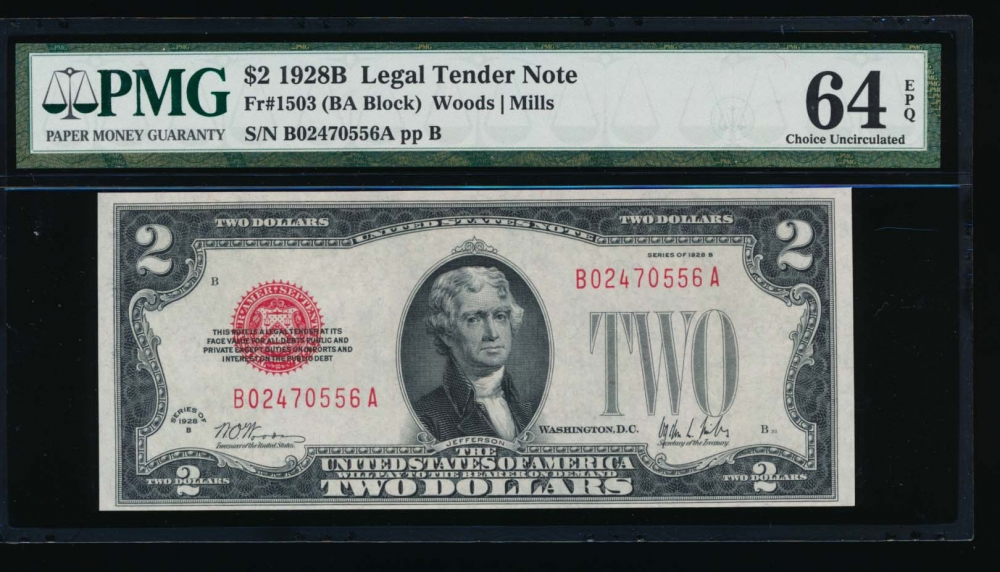 Fr. 1503 1928B $2  Legal Tender BA block PMG 64EPQ B02470556A