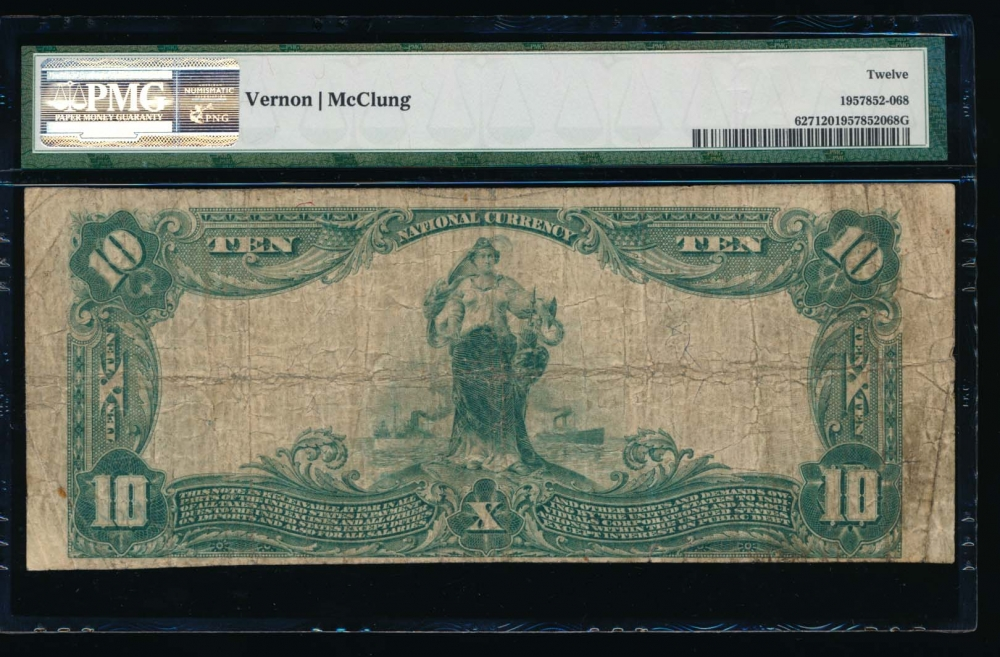 Fr. 627 1902 $10  National: Plain Back Ch #1716 The Citizens National Bank of Alexandria, Virginia PMG 12 29239 reverse