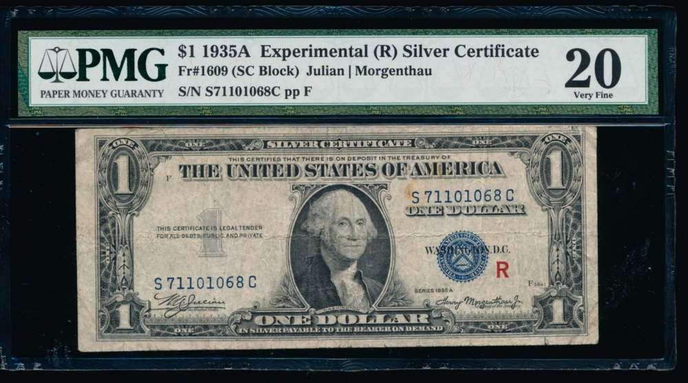 Fr. 1609 1935A $1  Silver Certificate R Experimental PMG 20 S71101068C