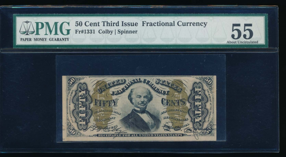 Fr. 1331  $0.50  Fractional Third Issue; Spinner, Green Back PMG 55 comment no serial number