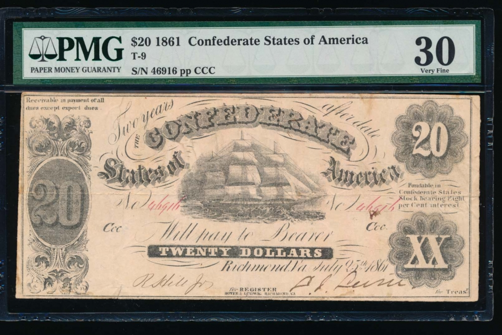 Fr. T-9 1861 $20  Confederate  PMG 30 comment 46916