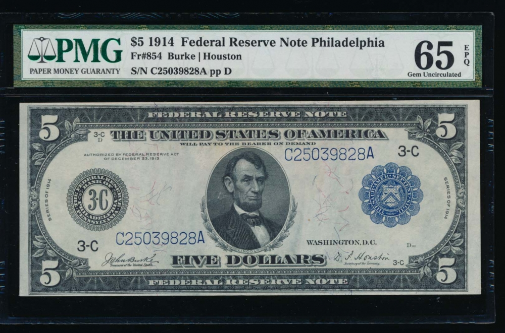 Fr. 854 1914 $5  Federal Reserve Note Philadelphia PMG 65EPQ C25039828A obverse