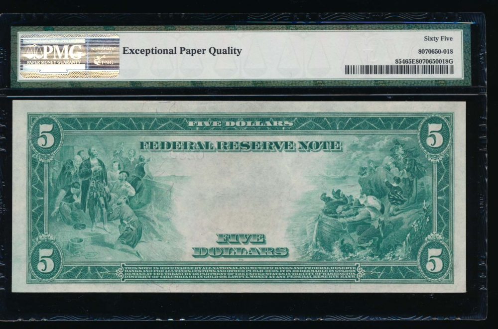 Fr. 854 1914 $5  Federal Reserve Note Philadelphia PMG 65EPQ C25039828A reverse