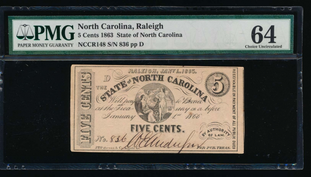 Fr. CR NC-148 1863 $0.05  Obsolete State of North Carolina, Raleigh PMG 64 836 D obverse