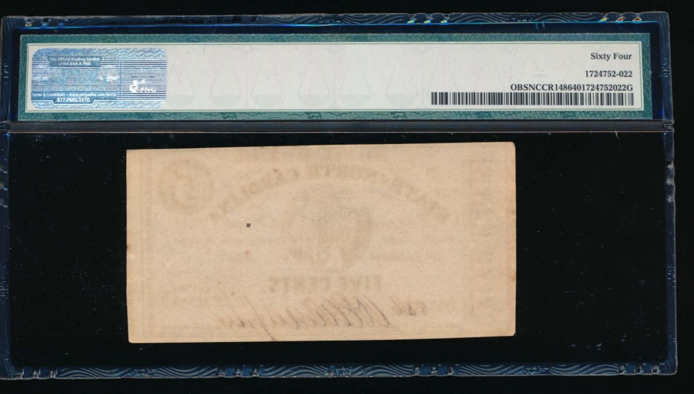 Fr. CR NC-148 1863 $0.05  Obsolete State of North Carolina, Raleigh PMG 64 836 D reverse