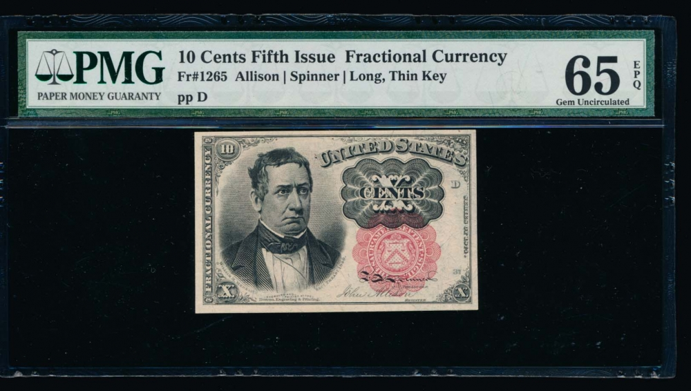 Fr. 1265  $0.10  Fractional Fifth Issue: Long, Thin Key PMG 65EPQ no serial number obverse