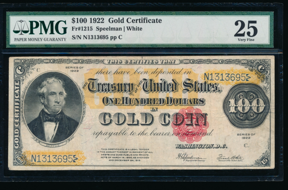 Fr. 1215 1922 $100  Gold Certificate  PMG 25 N1313695