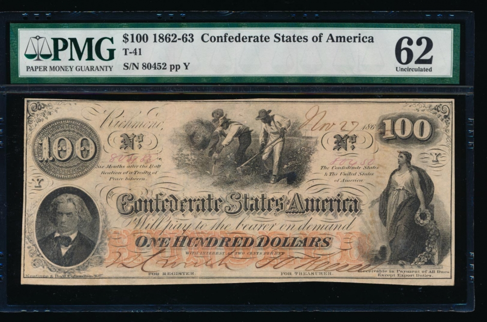 Fr. T-41 1862 $100  Confederate  PMG 62 comment 80452 Y