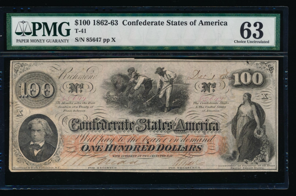 Fr. T-41 1862 $100  Confederate  PMG 63 comment 85647 X
