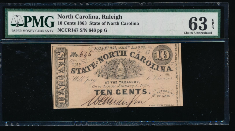 Fr. Cr NC-147 1863 $0.10  Obsolete RADAR State of North Carolina, Raleigh PMG 63EPQ 646G