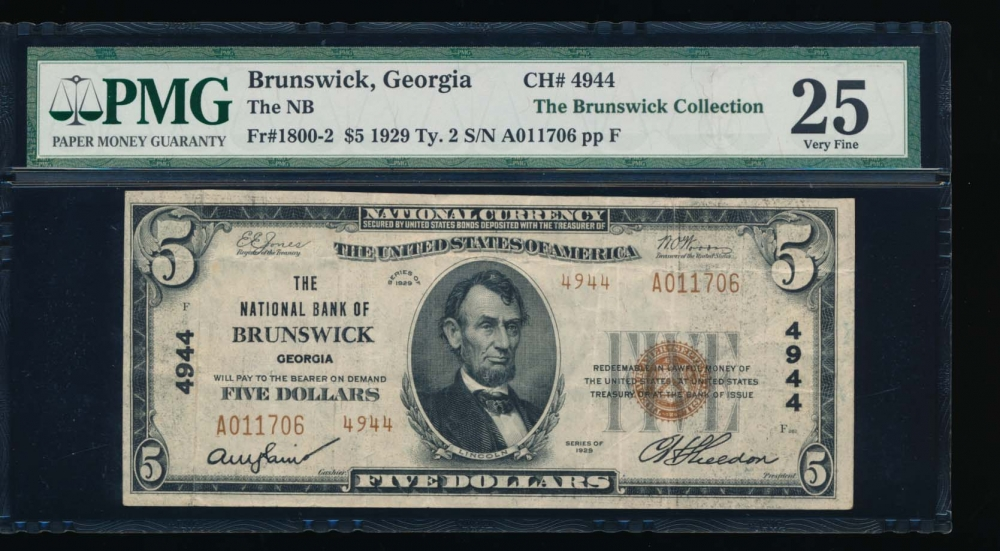 Fr. 1800-2 1929 $5  National: Type II Ch #4944 The National Bank of Brunswick, Georgia PMG 25 A011706