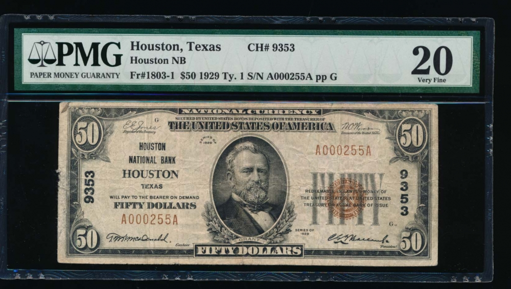 Fr. 1803-1 1929 $50  National: Type I Ch #9353 Houston National Bank, Houston, Texas PMG 20 A000255A