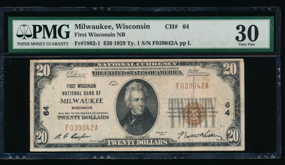 Fr. 1802-1 1929 $20  National: Type I Ch #64 First Wisconsin National Bank of Milwaukee, Wisconsin PMG 30 F039042A