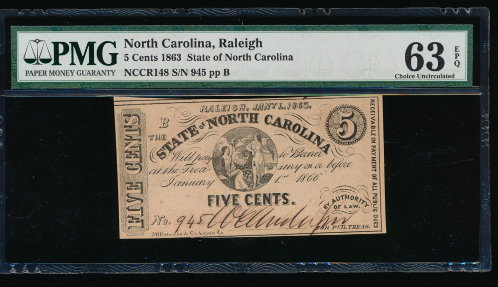 Fr. CR NC-148 1863 $0.05  Obsolete State of North Carolina, Raleigh PMG 63EPQ 945 B