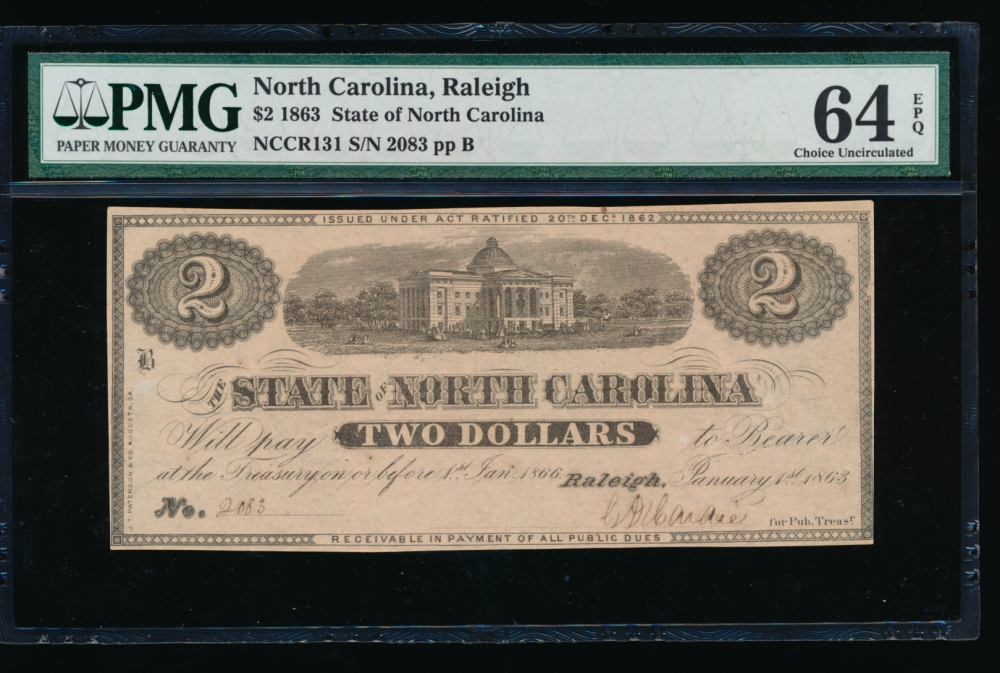 Fr. Cr NC-131 1863 $2  Obsolete State of North Carolina, Raleigh PMG 64EPQ 2083 B obverse