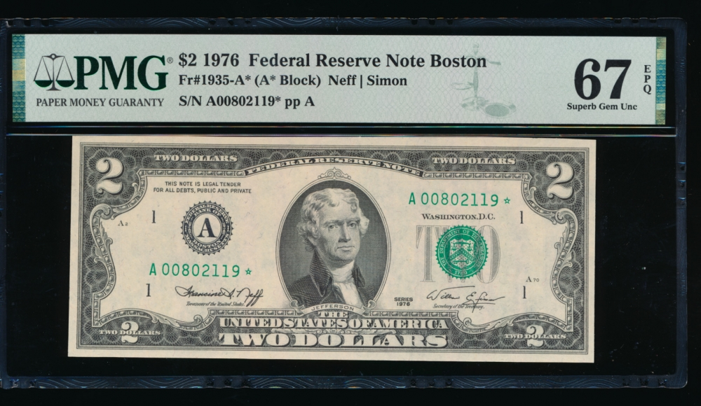 Fr. 1935-A 1976 $2  Federal Reserve Note Boston star PMG 67EPQ A00802119*