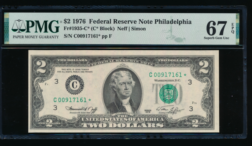 Fr. 1935-C 1976 $2  Federal Reserve Note Philadelphia star PMG 67EPQ C00917161*