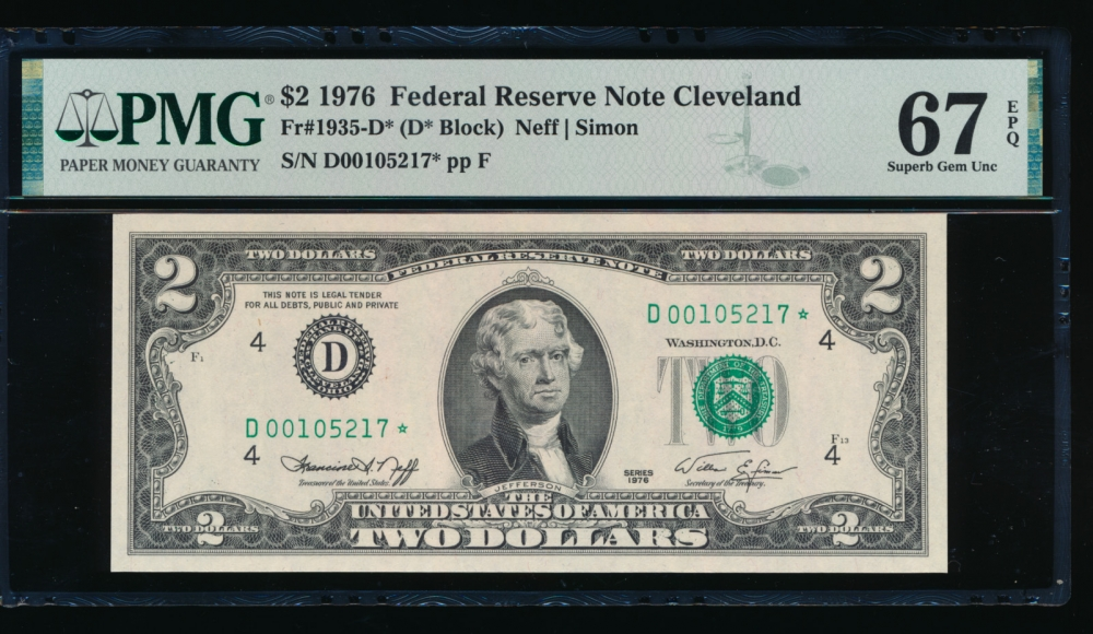 Fr. 1935-D 1976 $2  Federal Reserve Note Cleveland star PMG 67EPQ D00105217*