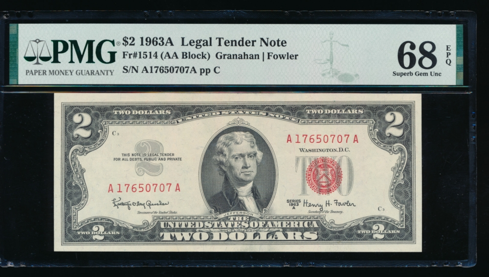 Fr. 1514 1963A $2  Legal Tender AA block PMG 68EPQ A17650707A