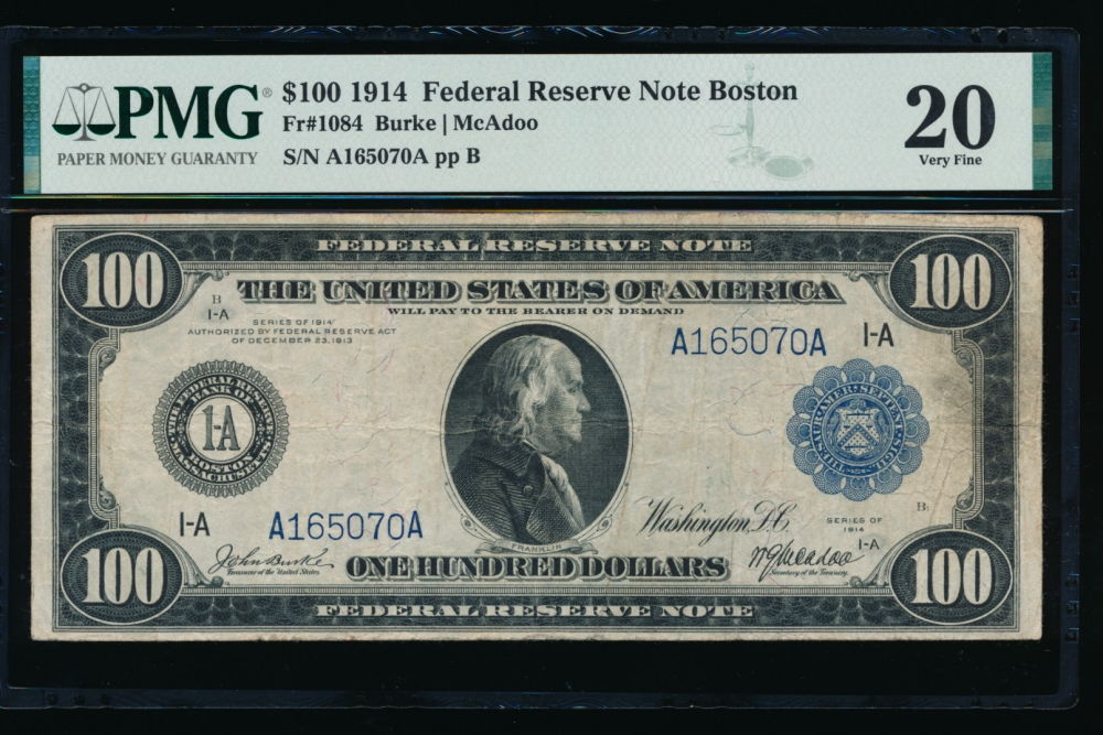Fr. 1084 1914 $100  Federal Reserve Note Boston PMG 20 A165070A obverse