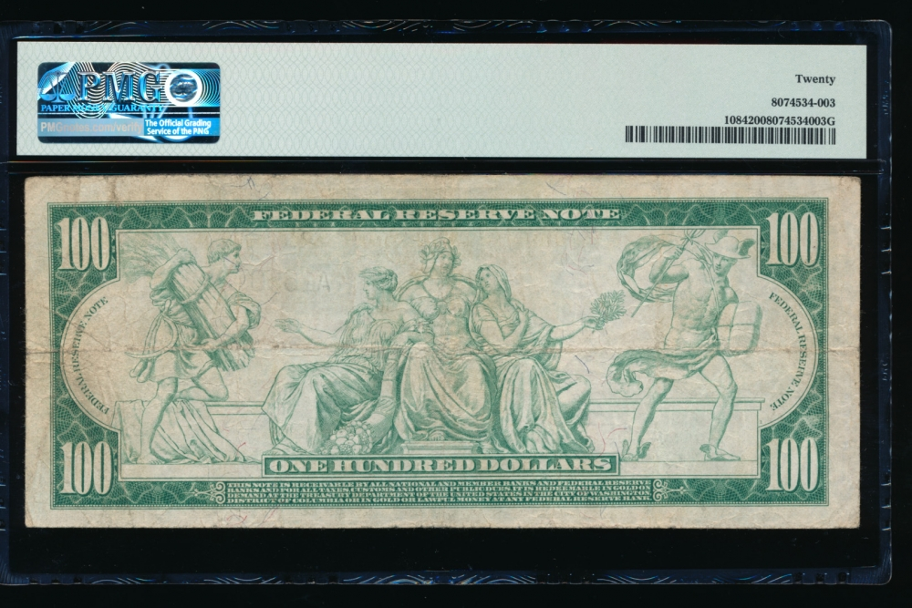 Fr. 1084 1914 $100  Federal Reserve Note Boston PMG 20 A165070A reverse