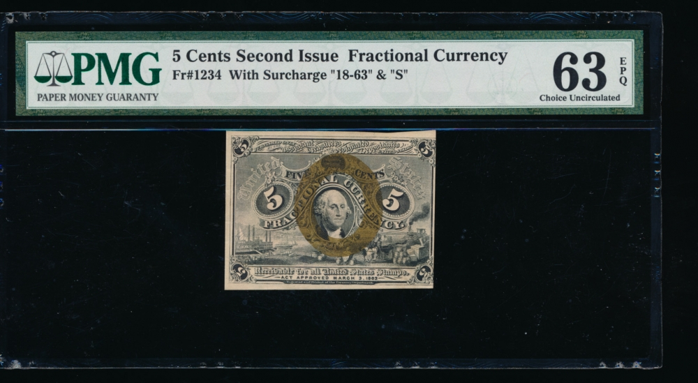 Fr. 1234  $0.05  Fractional Second Issue; Surcharge