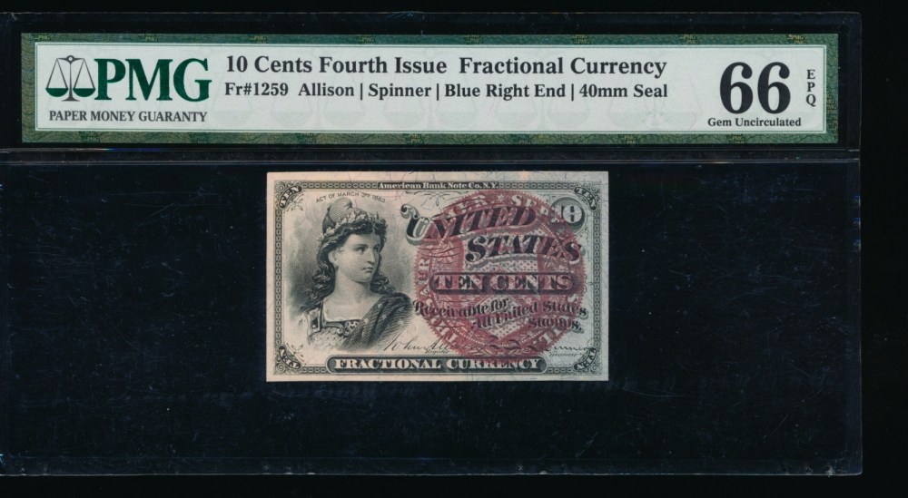 Fr. 1259  $0.10  Fractional Fourth Issue: Blue Right End, 40mm Seal PMG 66EPQ no serial number obverse