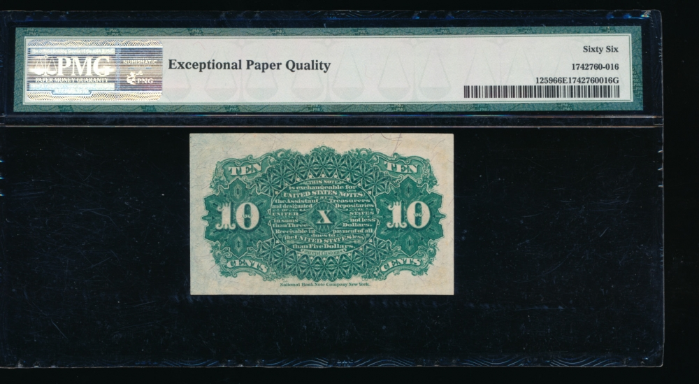 Fr. 1259  $0.10  Fractional Fourth Issue: Blue Right End, 40mm Seal PMG 66EPQ no serial number reverse