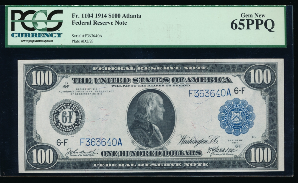Fr. 1104 1914 $100  Federal Reserve Note Atlanta PCGS-C 65PPQ F36340A obverse
