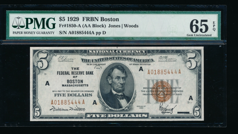 Fr. 1850-A 1929 $5  FRBN Boston PMG 65EPQ A01885444A