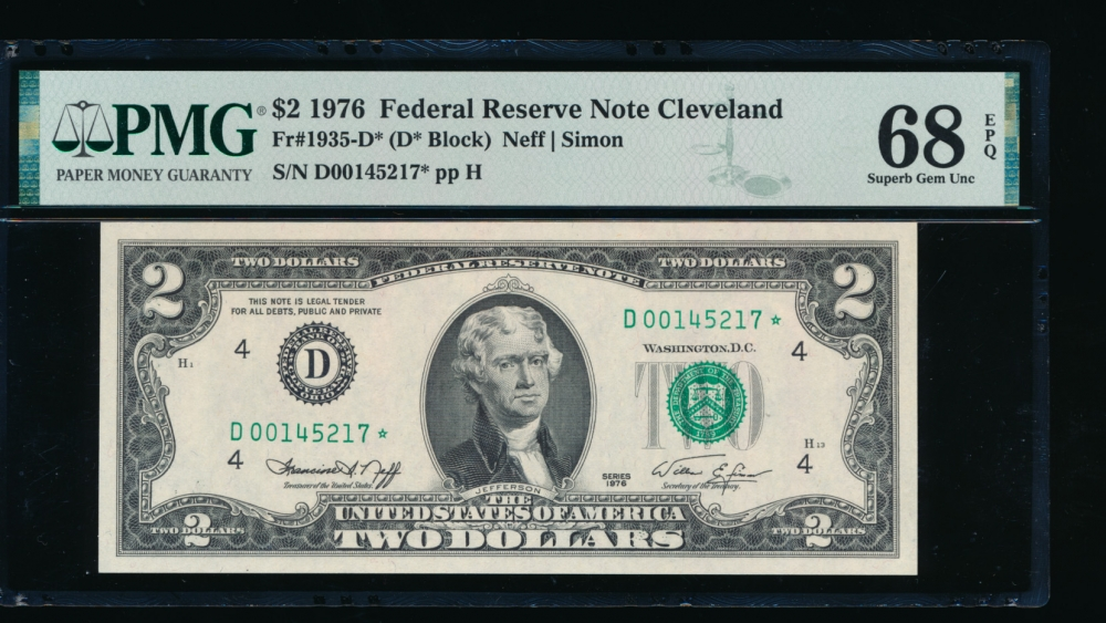 Fr. 1935-D 1976 $2  Federal Reserve Note Cleveland star PMG 68EPQ D00145217*