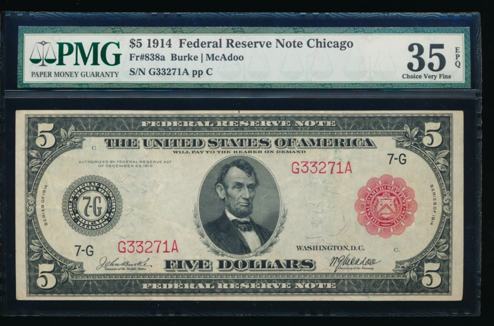 Fr. 838a 1914 $5  Federal Reserve Note red seal Chicago PMG 35EPQ G33271A