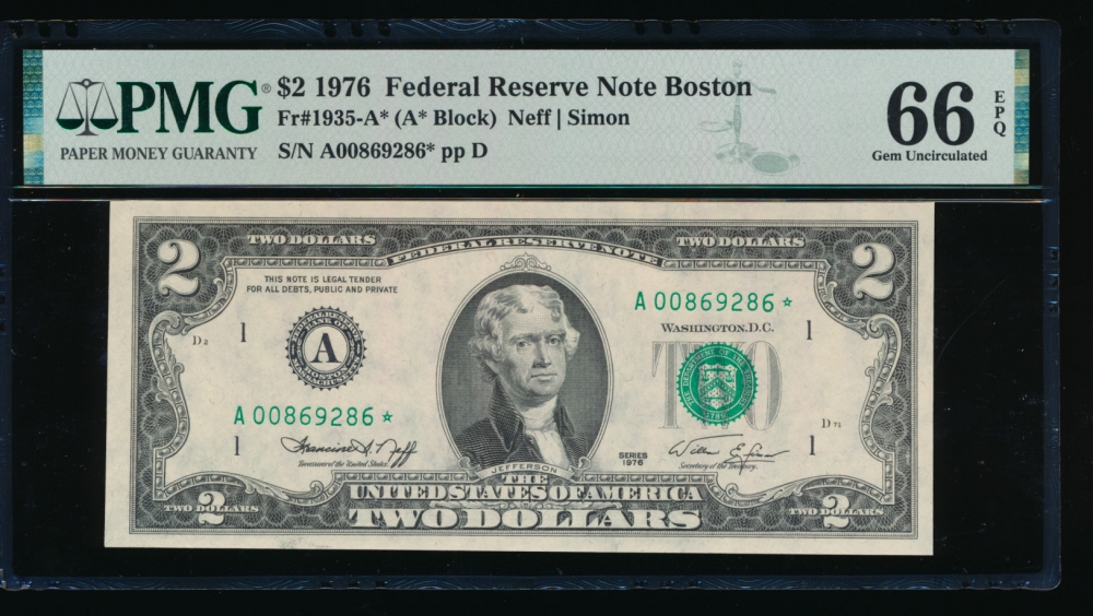 Fr. 1935-A 1976 $2  Federal Reserve Note Boston star PMG 66EPQ A00869286*