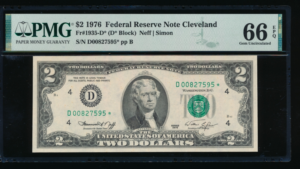 Fr. 1935-D 1976 $2  Federal Reserve Note Cleveland star PMG 66EPQ D00827595*