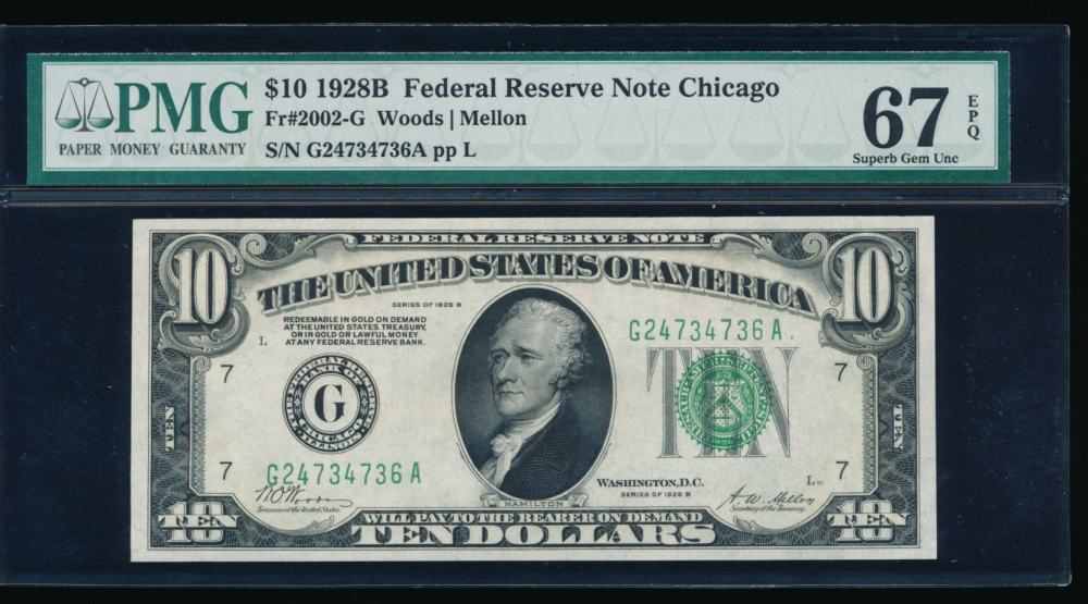 Fr. 2002-G 1928B $10  Federal Reserve Note Chicago PMG 67EPQ G24734736A