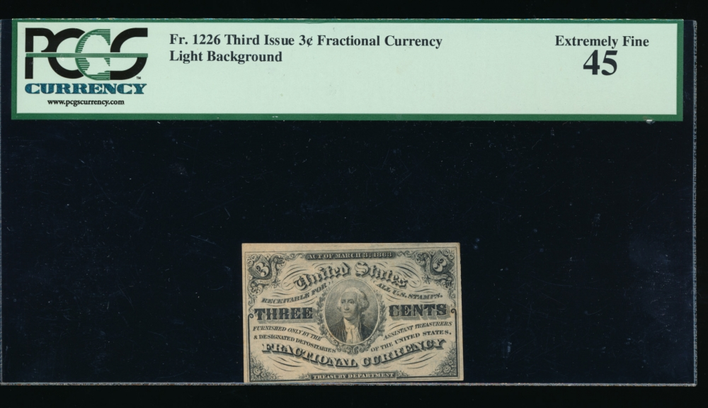 Fr. 1226  $0.03  Fractional Third Issue: Light Background PCGS 45 no serial number