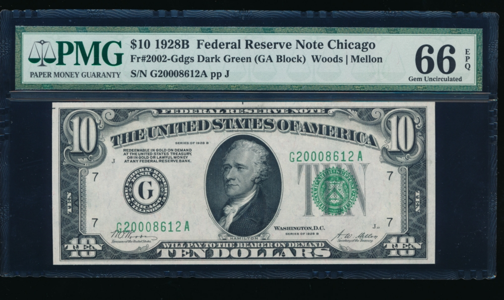 Fr. 2002-G 1928B $10  Federal Reserve Note Chicago PMG 66EPQ G20008612A
