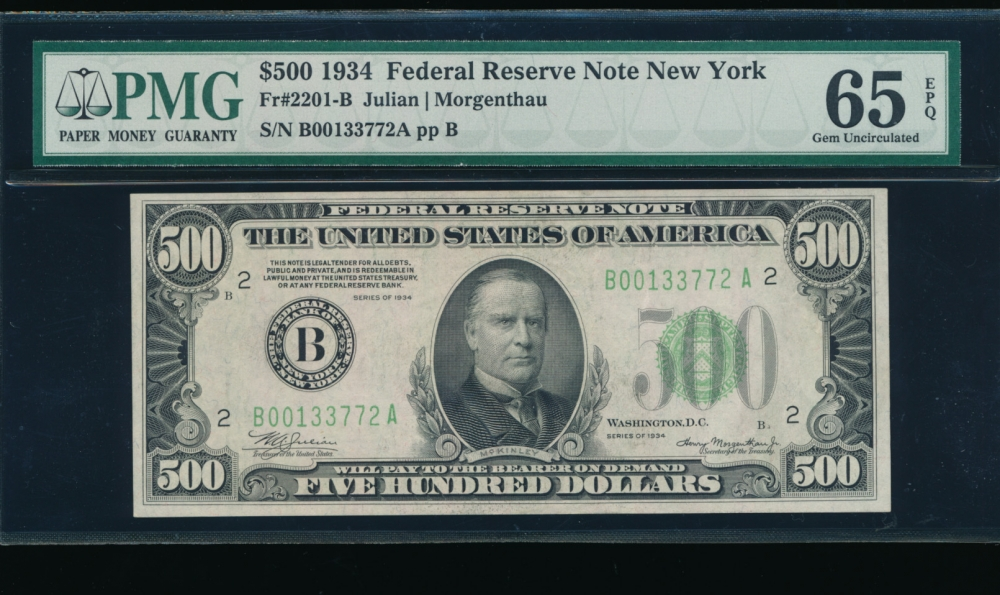 Fr. 2201-B 1934 $500  Federal Reserve Note New York PMG 65EPQ B00133772A